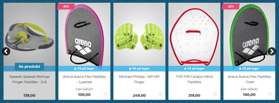 svømmehandsker og finger paddles
